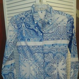 NWOT ETRO Spa Via Spartaco 3 Blue Paisley 44 /8 US